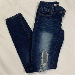 Refuge blue denim skinny jeans distressed size 0